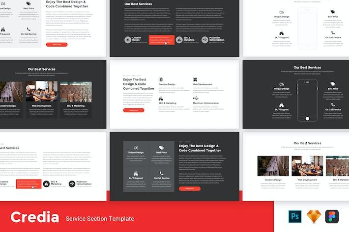 Thumbnail for Credia - Modèle de kit d'interface utilisateur de section de service