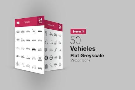 50 Vehicles Flat Greyscale Icons