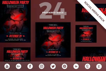 Halloween Party Social Media Pack Template