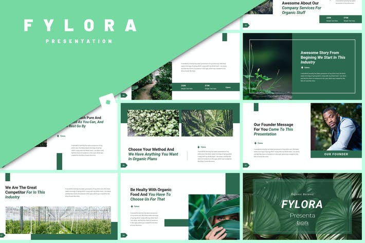 Fylora - Органический ботанический шаблон PowerPoint