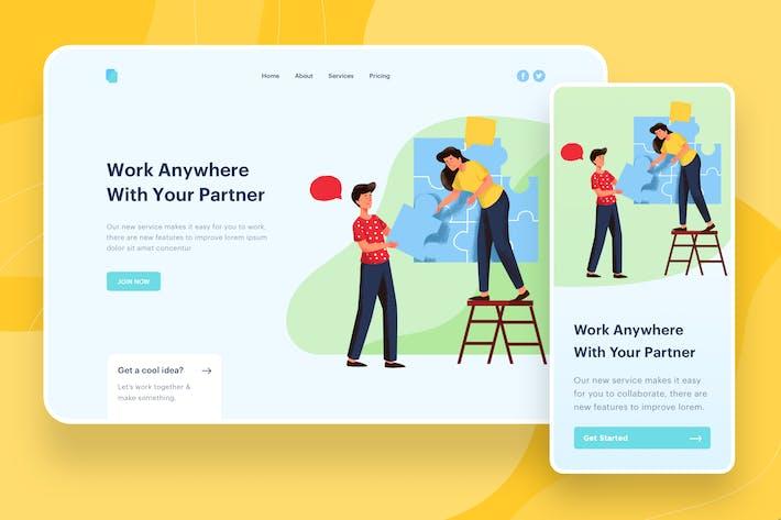 Thumbnail for Work With Partner Illustration - Website Header