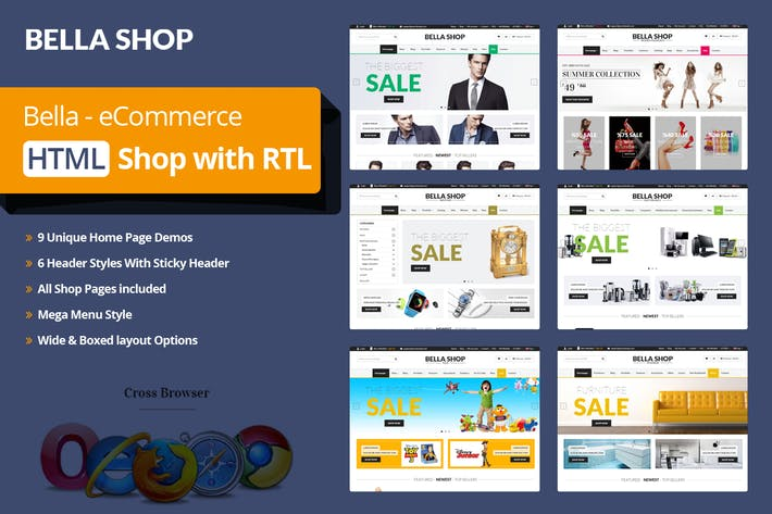 Thumbnail for Multipurpose Ecommerce HTML Template - Bella Shop
