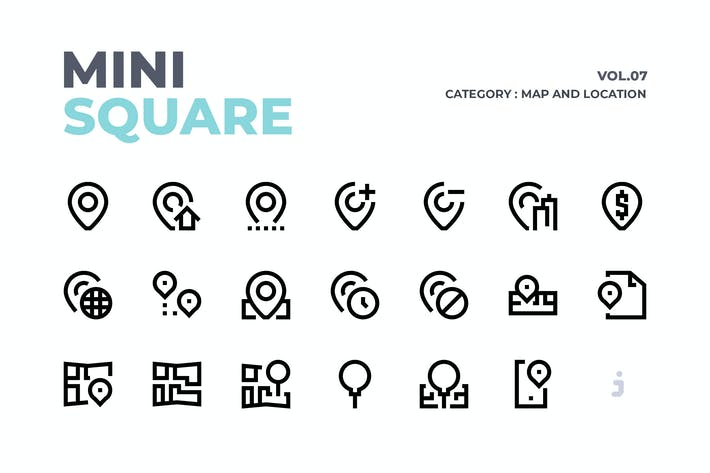 Thumbnail for Mini square - 60 Map and Location Icons