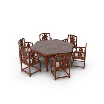 Восточный обеденный стол и стулья