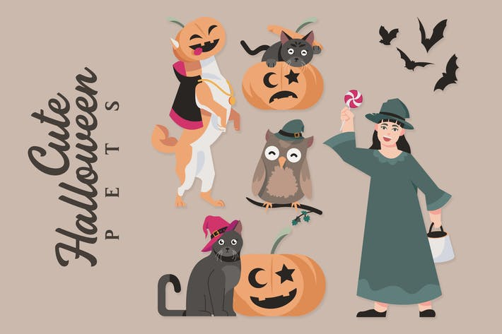 Thumbnail for Cute Halloween Pets - Illustrations