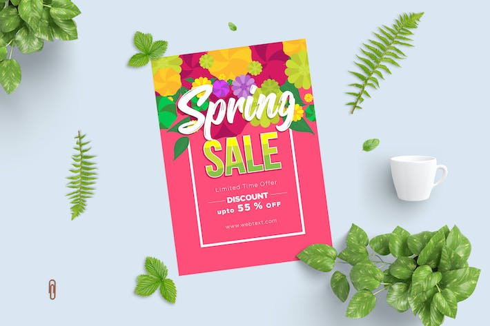 Thumbnail for Bright Pink Spring Poster with Floral Top Border