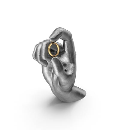 Silver Hand Holding a Ring