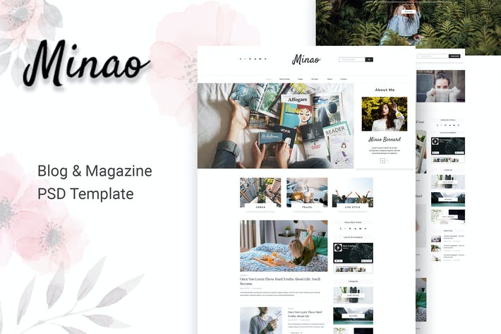 Cover Image For Minao - Blog PSD Template