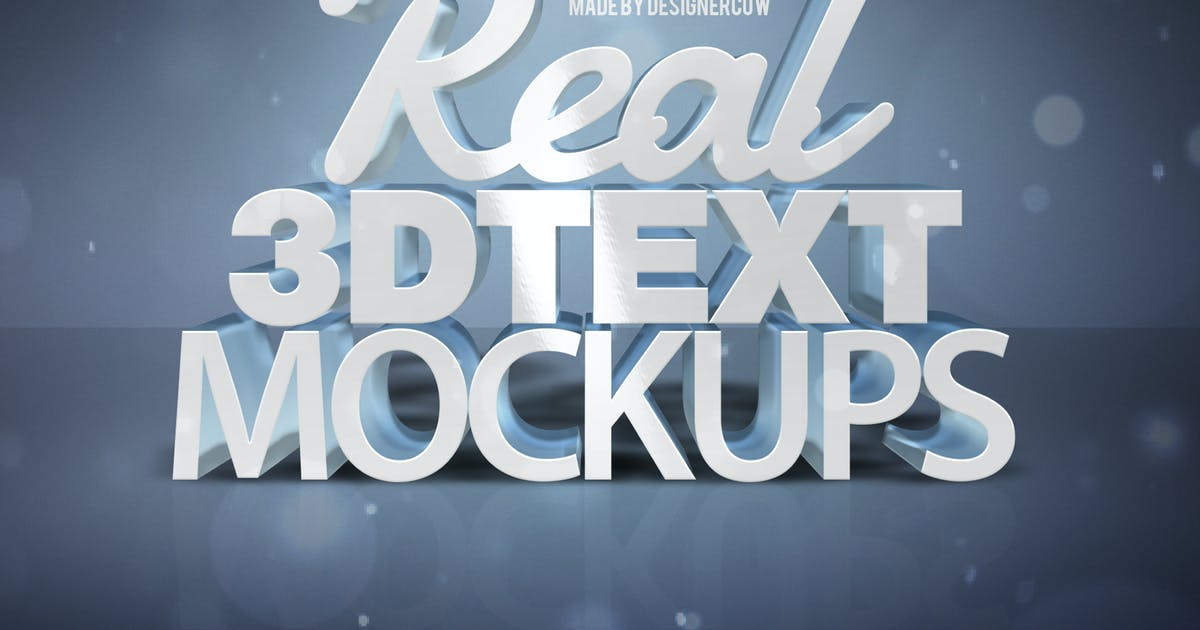 Download Real 3D text Mockups V1 by designercow