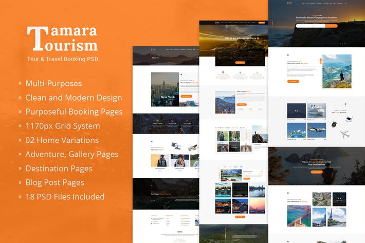 Cover Image For Tamara - Travel Agency and Tourism PSD Template