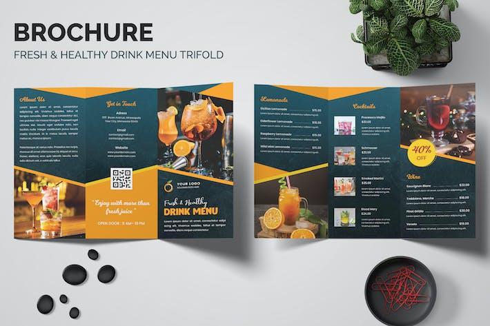 Thumbnail for Fresh & Healthy Drink Menu Trifold Brochure