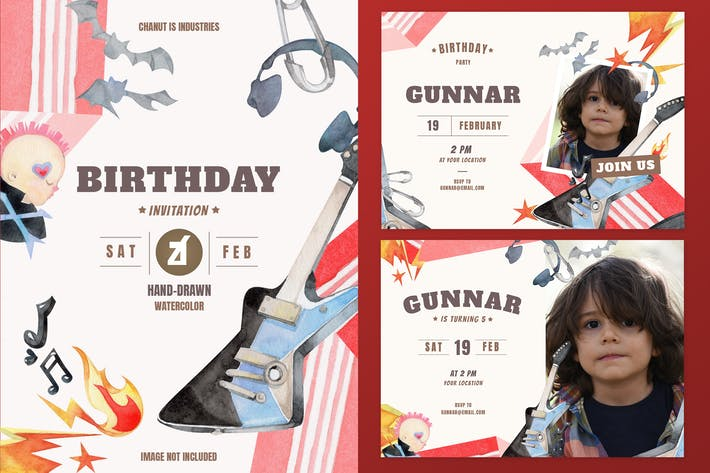 Thumbnail for Rockstar theme birthday invitation card