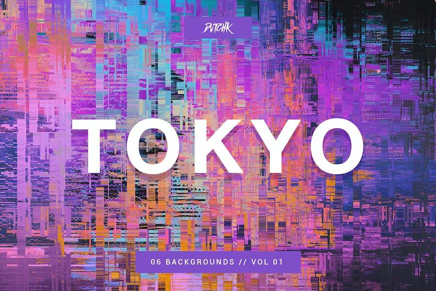 Tokyo  City Glitch Backgrounds   Vol. 01