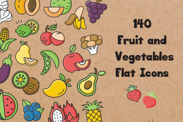 Thumbnail for Fruits and Vegetables Flat Icons