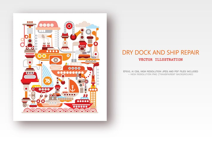 Thumbnail for Dry Dock and Ship Repair vector illustration