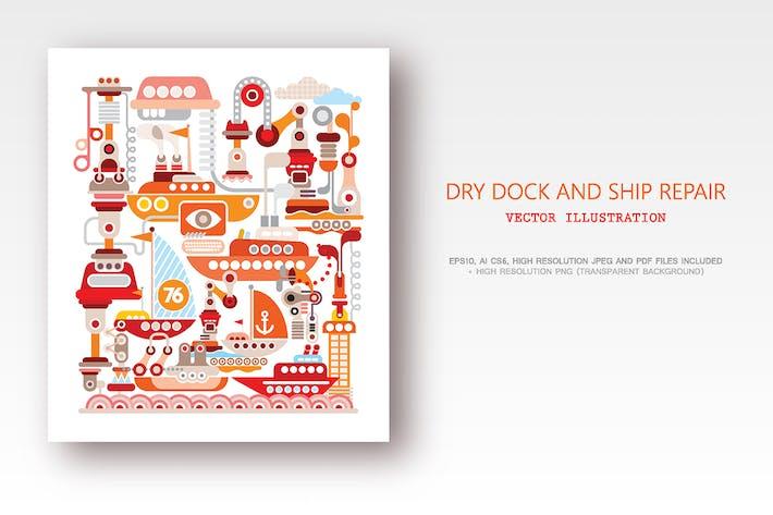 Dry Dock and Ship Repair vector illustration