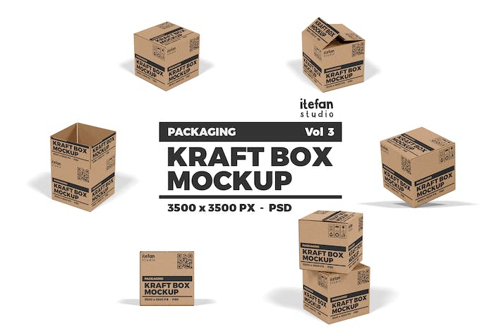 Thumbnail for Kraft Box Mockup - Packaging Vol 3