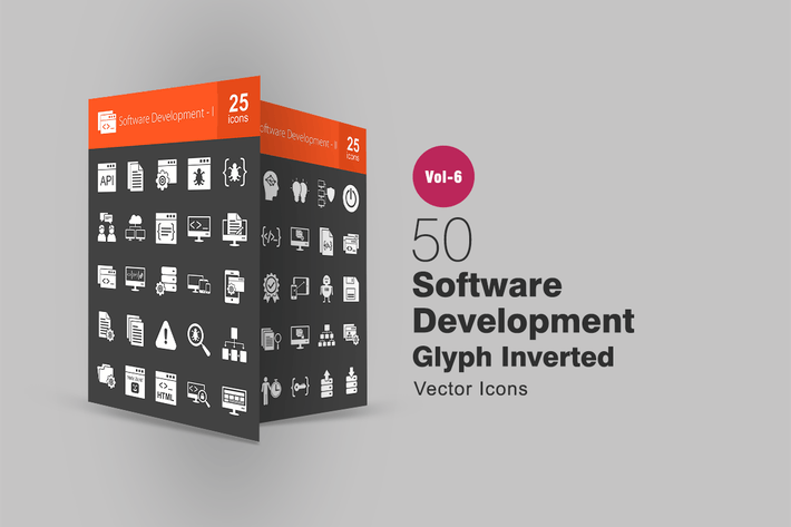 Thumbnail for 50 Software Development Glyph Inverted Icons