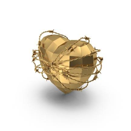 Низкое Поли Золотое Сердце в Колючей Проволоке
