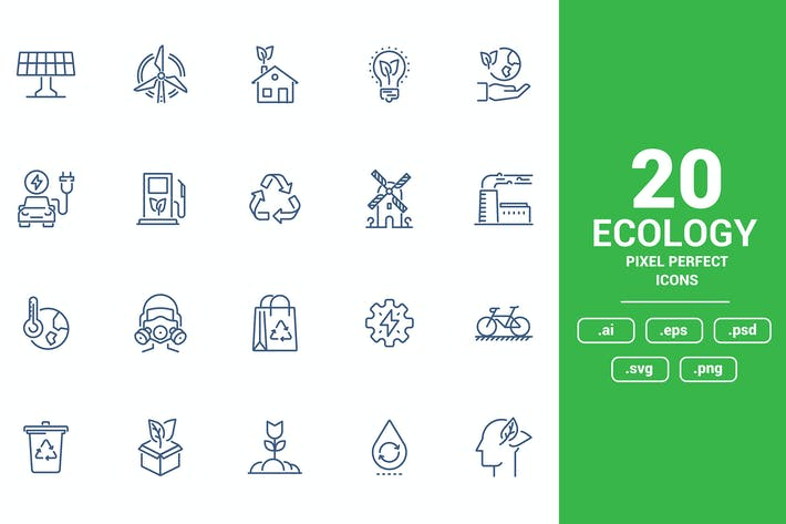 Thumbnail for Flat line icons design - Ecology