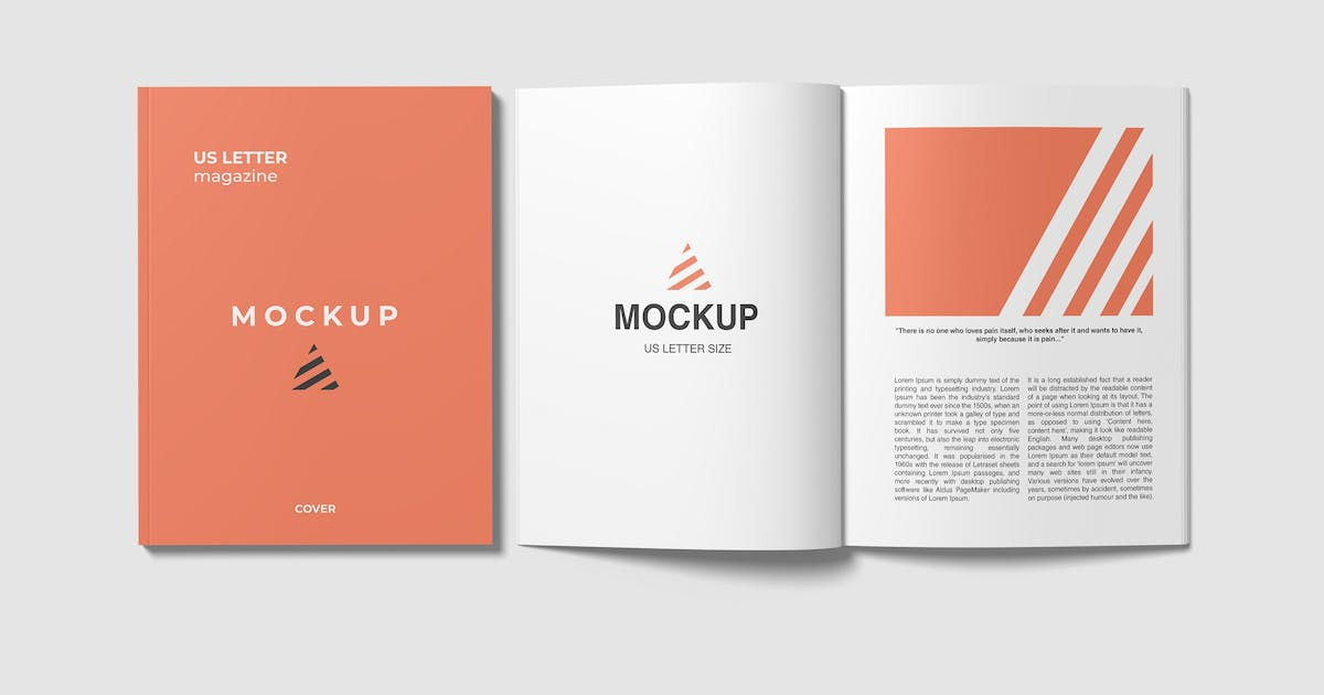 Download Open and Closed US Letter Magazine Mockups by graphiccrew