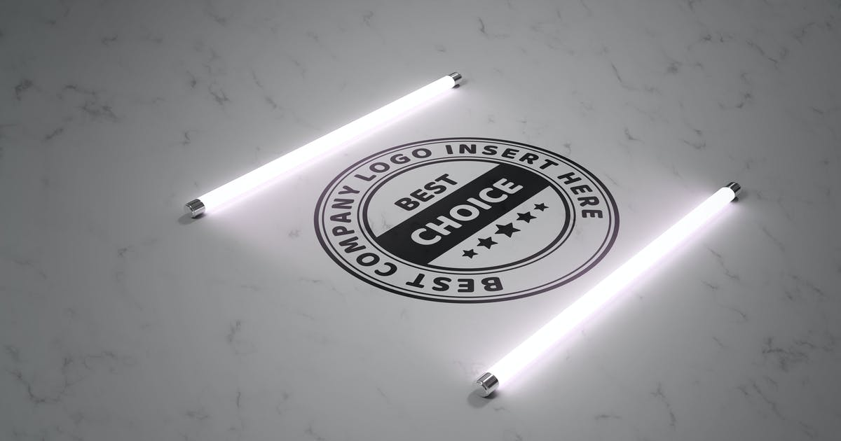 Download Logo in the light of fluorescent lamps - mockup by rwgusev