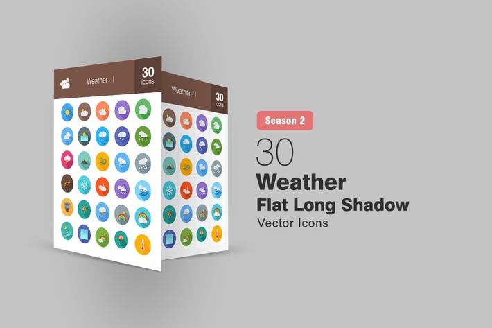 Thumbnail for 30 Weather Flat Long Shadow Icons Season II