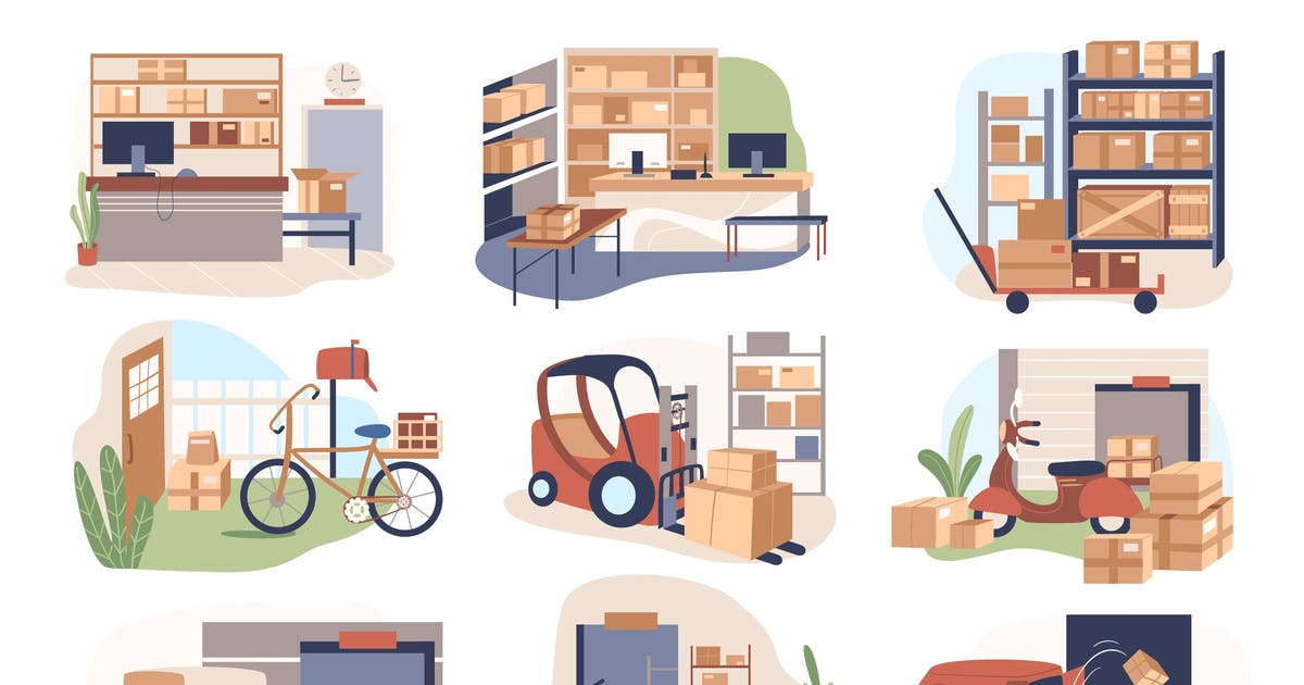 Warehouse And Delivery Set Isolated Elements by DesignSells