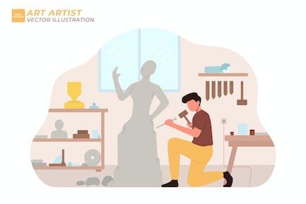 Artista Arte Flat Ilustración