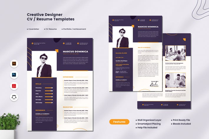 Thumbnail for Creative Designer CV Resume