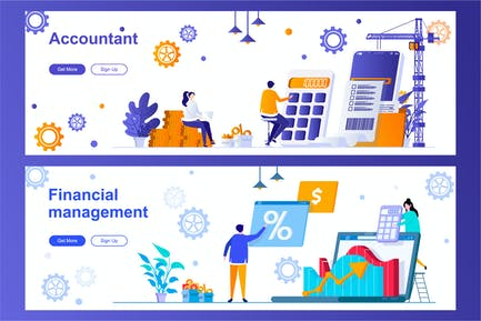 Accountant and Financial Management Web Banners