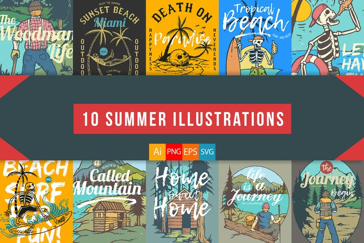 Thumbnail for 10 Summer Illustrations