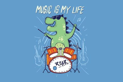 cute dinosaurs are drumming