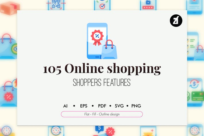 105 Online shopping icon pack
