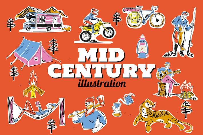 Ensemble d'illustrations de camping du milieu du siècle