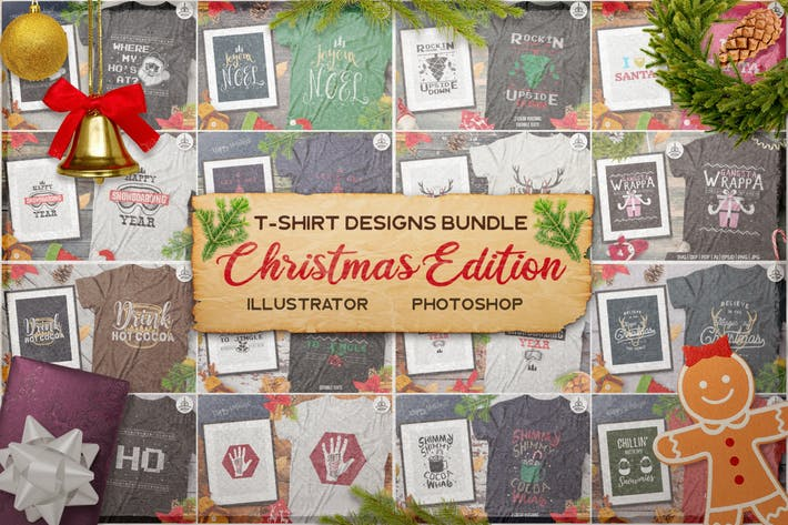 Thumbnail for Christmas T-Shirt Designs Retro Bundle. Xmas Tees