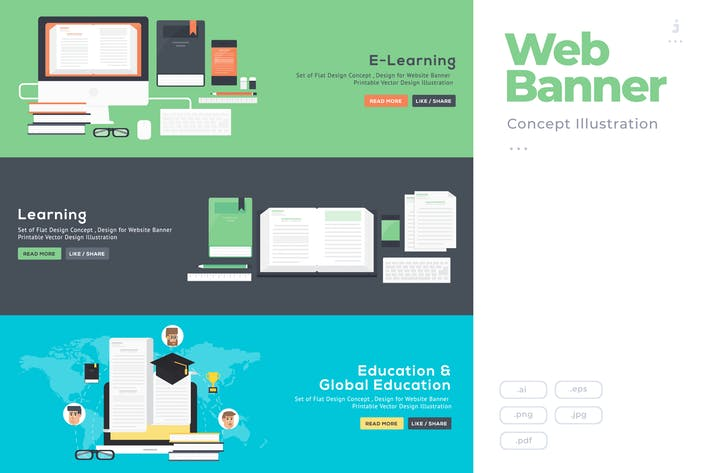 Flat Design Banner Concept for E-Learning