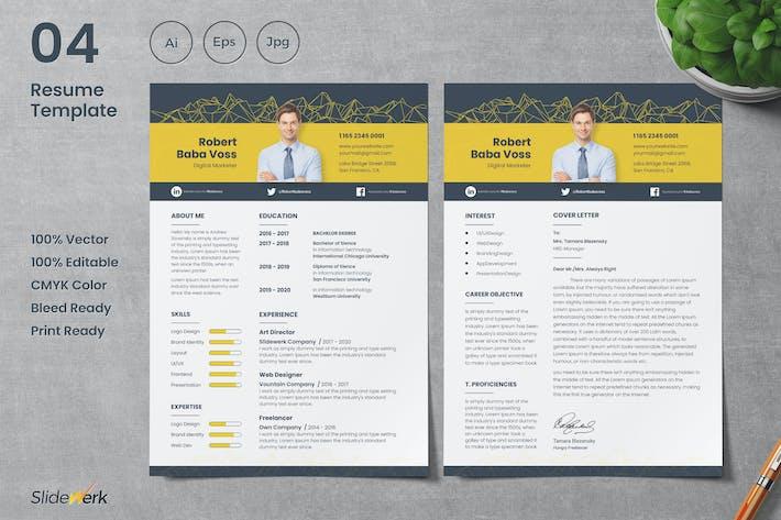 Thumbnail for Clean CV Resume Template 04 - Slidewerk