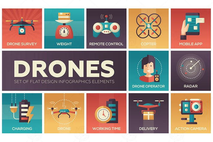 Thumbnail for Drones - set of flat design infographics elements