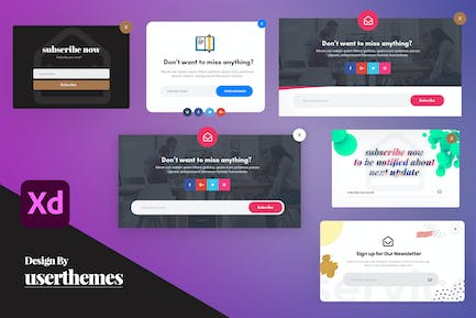 Creative Newsletter Email Pop-Up XD Templates