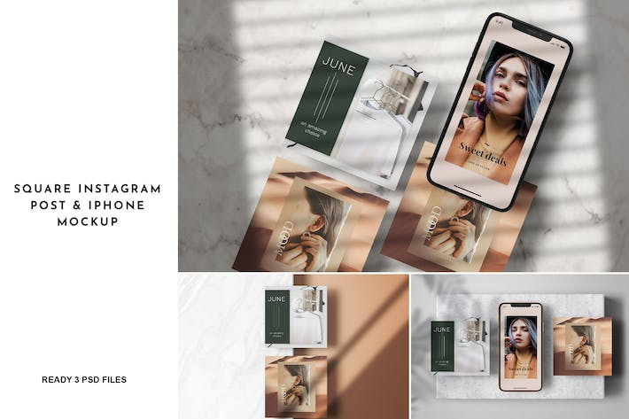 Thumbnail for 3 Psd Square Instagram Post & iPhone Mockup