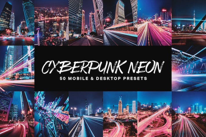 Thumbnail for 50 Cyberpunk Neon Lightroom Presets and LUTs