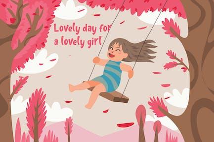 Mädchen auf Schaukel - Vektor Illustration