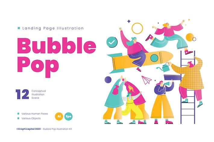Bubble Pop Zielseite Illustration