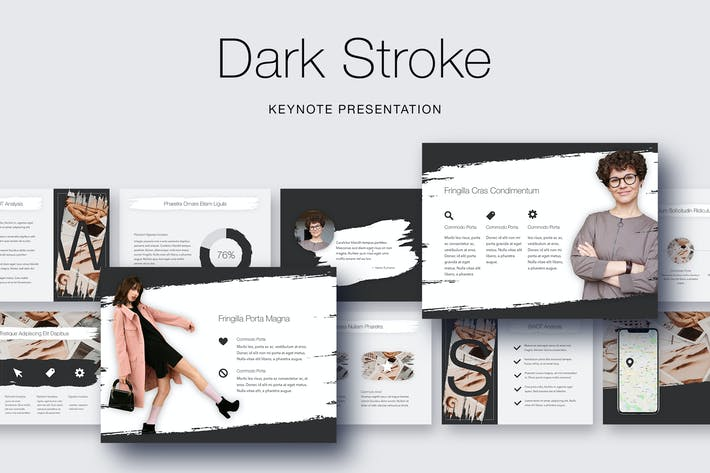 Thumbnail for Dark Stroke Keynote Template