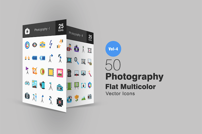 Thumbnail for 50 Photography Flat Multicolor Icons