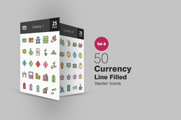 Thumbnail for 50 Currency Filled Line Icons