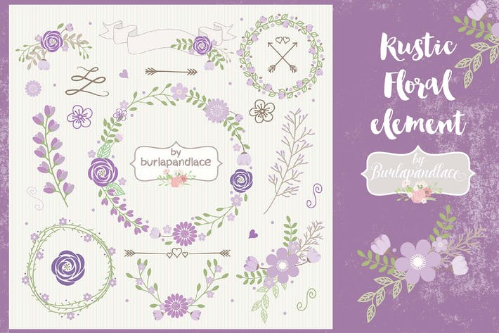 Thumbnail for Purple floral wreath clipart
