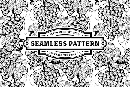 Seamless Grapes Pattern Black And White
