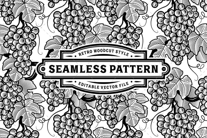 Thumbnail for Seamless Grapes Pattern Black And White